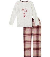 pigiama con pantaloni in flanella (bianco) - bpc bonprix collection