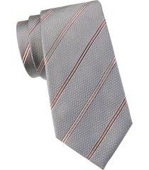 armani collezioni men's striped silk tie - grey