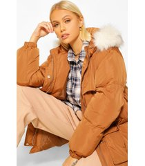 gewatteerde jas met ceintuur en faux fur zoom, rust