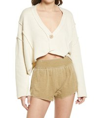 women's free people tera unstructured cotton cardigan, size large - ivory