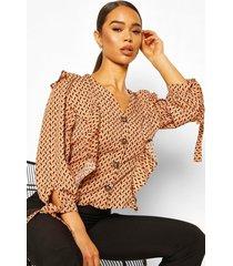 geo print button ruffle blouse, rust