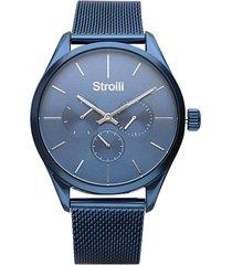 orologio multifunzione con cinturino maglia milanese e cassa in acciaio blu per uomo