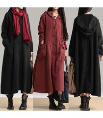 women retro full length hooded coat jacket long maxi dress kaftan