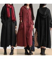 women retro full length hooded coat jacket long maxi dress kaftan