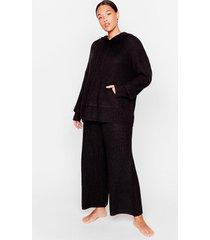 womens knit's your time plus wide-leg pants lounge set - black