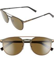 salvatore ferragamo classic 52mm round sunglasses in matte olive green at nordstrom