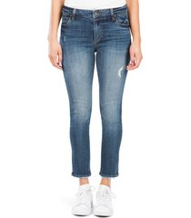 women's kut from the kloth reese high waist ankle straight leg jeans, size 00 - blue