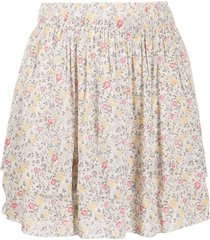 ganni floral-print pull-on skirt - neutrals