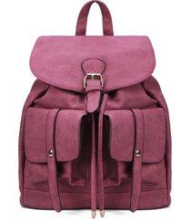 mochila con dos bolsillos delanteros con aspecto de cuero en rojo rosa