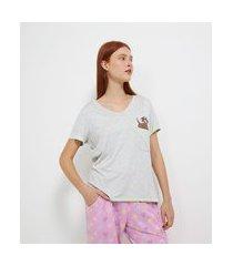 pijama manga curta e calça em viscolycra estampa dog e corações   lov   cinza   gg