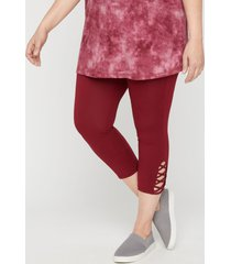 capri legging with crisscross hem