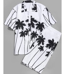 coconut palm printed hawaii shirt and beach shorts