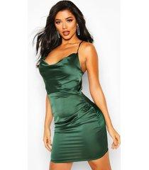 florence satijnen bodycon jurk met col, groen