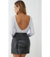 yoins blusa de manga larga con cuello redondo y diseño sin espalda brillante