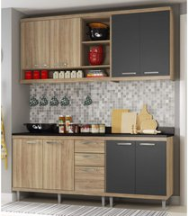 cozinha compacta completa multimã³veis com 4 peã§as sicãlia 5819 argila/grafite - bege/incolor - dafiti