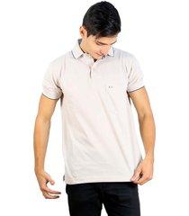 camiseta polo hamer, basica con bolsillo, para hombre color kaky