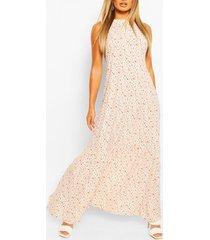 casual maxi-jurk met hoge kraag en gelaagde zoom, wit