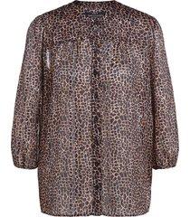 blouse met dierenprint ivy  zwart