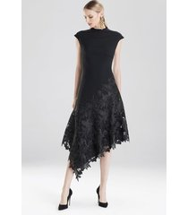 crepe and guipure lace dress, women's, black, size 0, josie natori