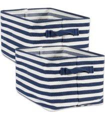 design imports polyethylene coated herringbone woven cotton laundry bin stripe french rectangle medium set of 2
