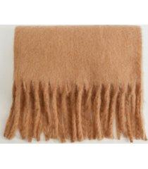 mango women's fringed edge wool-blend scarf