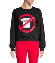 moschino women's graphic stretch-cotton sweatshirt - black red - size 42 (8)