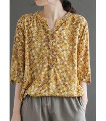 camicetta ampia vintage con bottoni a mezza manica con colletto alla coreana con stampa floreale