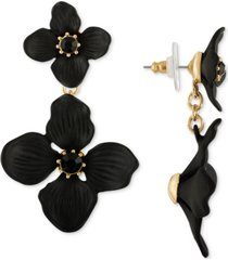 rachel rachel roy gold-tone crystal flower double drop earrings