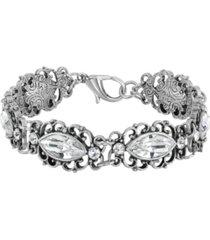 2028 silver-tone diamond shaped crystal link bracelet