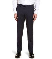 men's boss lenon cyl flat front straight leg solid wool dress pants, size 30r - blue