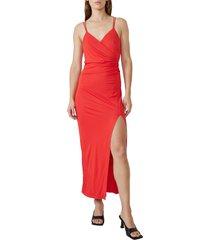 bardot faux wrap midi dress, size large in lipstick at nordstrom