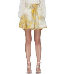 wattle graphic print linen silk blend flip skirt