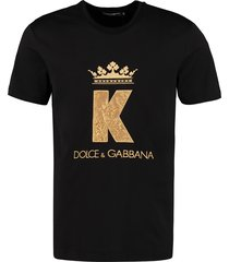 dolce & gabbana king patch cotton t-shirt