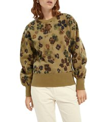 women's scotch & soda floral print sweatshirt, size x-small - green
