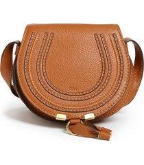 chloe 'mini marcie' leather crossbody bag - beige