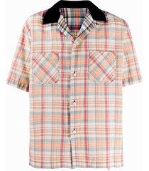 sacai madras check-print shirt - neutrals