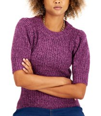 i.n.c. international concepts petite marled puff-sleeve sweater, created for macy's