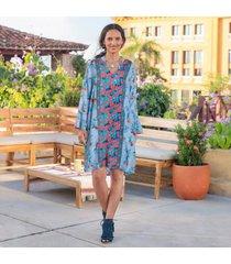 sundance catalog women's emilia floral dress in sky xs