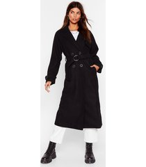 belted wool look trench coat