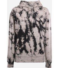 saint laurent cotton sweatshirt with all-over tie-dye print
