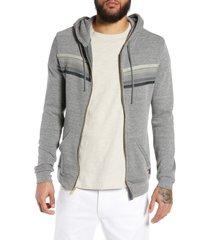 men's aviator nation 5-stripe zip hoodie, size medium - grey