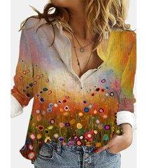 camicetta da donna con colletto rovesciato manica lunga stampata paesaggio