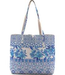 bolsa sacola desigual dupla face com necessaire azul/bege