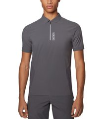 boss men's pariq grey polo shirt