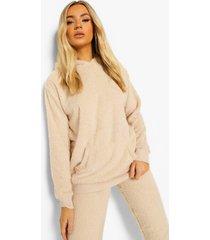 fleece teddy lounge hoodie, stone