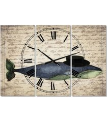 "designart old style whale with hat oversized nautical & coastal 3 panels wall clock - 38"" x 38"" x 1"""