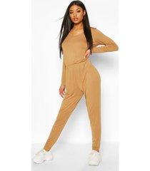 long sleeve basic jersey jumpsuit, camel