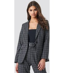na-kd classic big check straight fitted blazer - grey