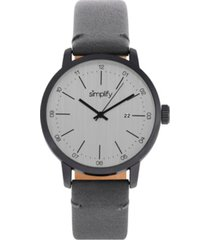 simplify quartz the 2500 charcoal dial, genuine charcoal leather watch 42mm
