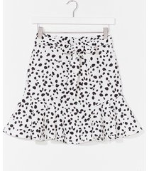 womens right on the spot dalmatian belted mini skirt - white